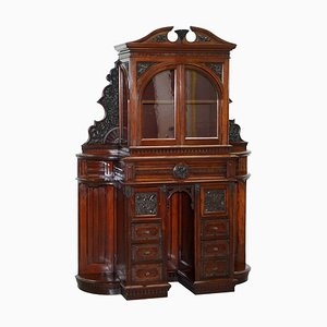 Victorian Hand-Carved Walnut Cabinet with Drawers