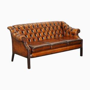 Vintage Cigar Brown Leder 3-Sitzer Chesterfield Sofa
