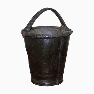 19th Century Leather and Iron Bound Fire Bucket with Handle