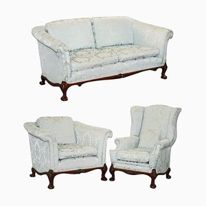 Sofa & Armchair Set in Damask Upholstery from Brights of Nettlebed, Set of 3