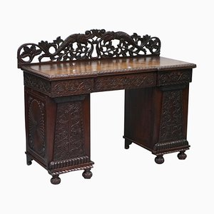 19th Century Anglo-Burmese Hand-Carved Sideboard with Drawers & Cupboards
