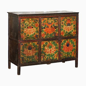 19th Century Tibetan Hand-Painted Altar Cabinet in Hand-Carved Cedar Wood