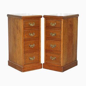 Tall Victorian Walnut Chests of Drawers or Side Tables, Set of 2