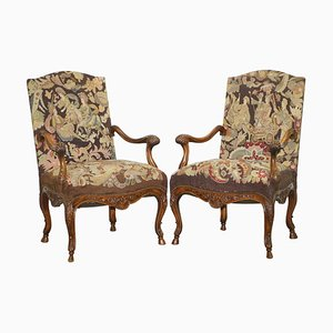 French Walnut Tapestry Embroidered Fauteuil Armchairs, 1850s, Set of 2