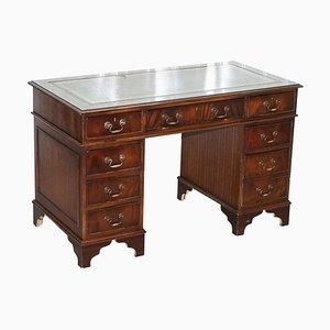 Hardwood & Green Leather Partner Desk with Sliding Keyboard Shelf & Twin Pedestals