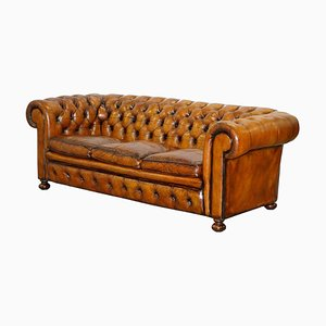 Hand-Dyed Brown Leather Chesterfield Sofa with Coil Spring & Feather-Filled Cushions