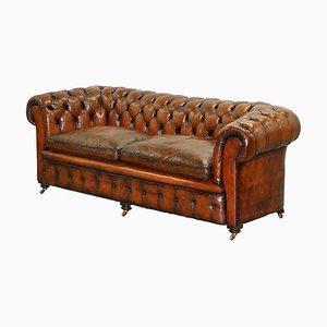 Viktorianisches handgefärbtes braunes Chesterfield Sofa aus geflochtenem Leder mit Pferdehaar