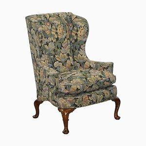 Blenheim Walnut Wingback Armchair with William Morris Fabric from Wood & Hogan, New York
