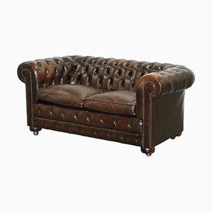 Braunes Leder 2-Sitzer Spiral Chesterfield Sofa mit Federkissen