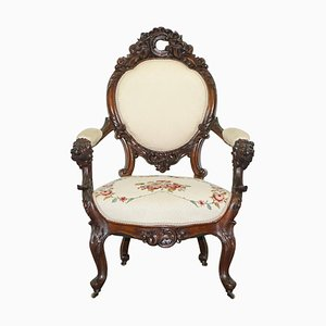 Victorian Show Frame Lion Carved Walnut Salon Armchair with Embroidered Upholstery