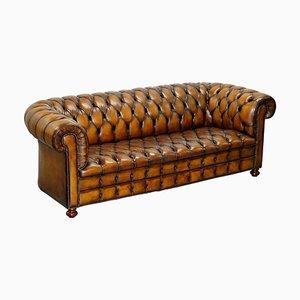 Canapé Chesterfield Vintage en Cuir Teinté à la Main