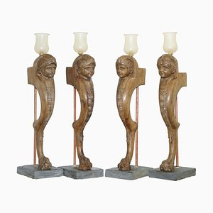 French Neoclassical Monopod Lamps with Paw Feet, 1820s, Set of 4