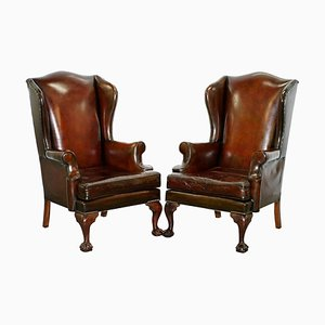 Claw and Wingback Cigar Brown Leather Armchairs, Set of 2