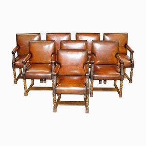 Stamped Brown Leather Carver Armchairs from Howard & Sons, 1900s, Set of 8