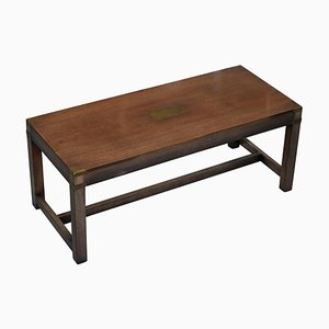 Vintage Hardwood and Brass Military Campaign Coffee Table from Harrods London