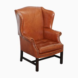 Wingback Brown Leather Armchair with Floating Button Chippendale Chesterfield Cushion