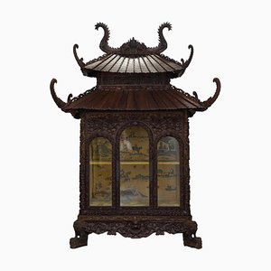 Antique Hand-Carved Pagoda Cabinet with Silk Interior