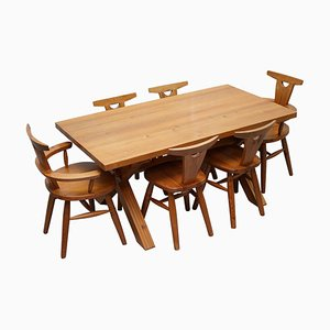 Solid Pine Cross-Framed Dining Table & 6 Carver Chairs by Robin Nance of St Ives, Set of 7