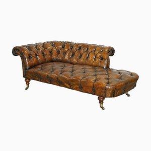 Braune Chesterfield Chaiselongue aus Leder von Howard & Sons