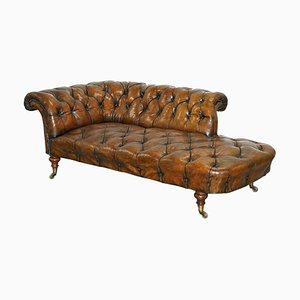 Chaise longue Chesterfield in pelle marrone di Howard & Sons