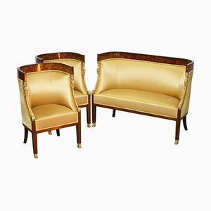 Französische Empire Sessel & Sofa mit Intarsien, 1870er, 3er Set