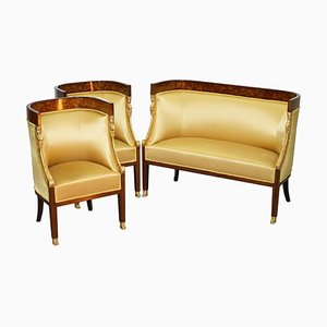 French Empire Inlaid Armchairs & Sofa, 1870s, Set of 3