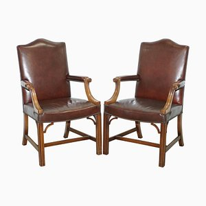 Vintage Brown Leather Gainsborough Armchairs from Hillcrest, 1930s, Set of 2
