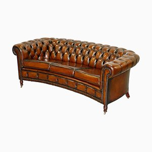 Curved Cigar Brown Leather Chesterfield Club Sofa