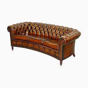 Geschwungenes Cigar Brown Leder Chesterfield Club Sofa