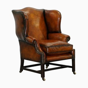 George III Wingback Brown Leather Armchair, 1780s