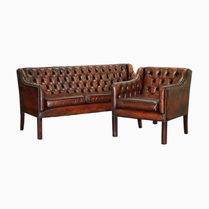 Vintage Brown Leather Chesterfield Gun Suite of 3-Seater Sofa and Armchair, Set of 2