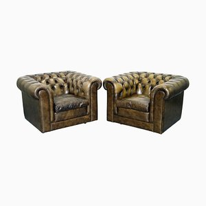 Vintage Leather Chesterfield Club Armchairs with Feather Cushions