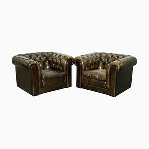 Vintage Chesterfield Leather Club Armchairs, Set of 4