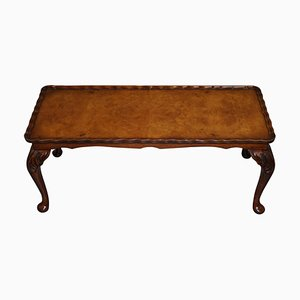Burr Walnut Cut Coffee Table with Long Cabriolet Legs from Bevan Funnell