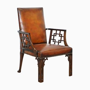 Chinese Chippendale Brown Leather Armchair, 1830s
