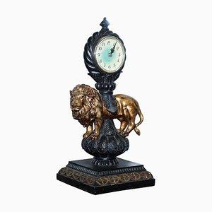 Horloge de Cheminée Lion Vintage avec Mouvement d'Horloge Moderne