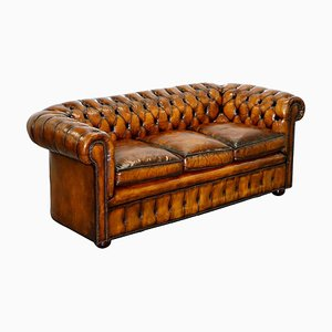 England Hand-Dyed Whisky Brown 3-Seat Chesterfield Club Sofa, 1930s