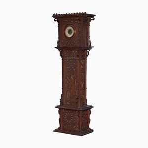 Tall 19th Century Continental Walnut Fret Carved Oriental Barometer