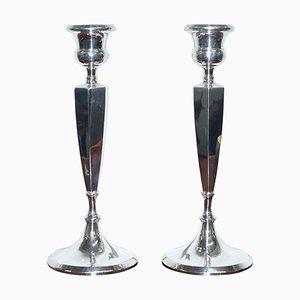 Große King George V Sterling Silber Kerzenständer, Birmingham, 1920, 2er Set