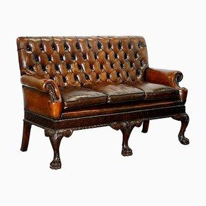 Victorian Georgian Irish Brown Leather Chesterfield Sofa with Lion Hairy Paw Feet