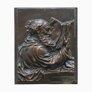 19th Century Bronze Wall Plaque of Scholar St Jerome Reading a Book