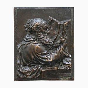 Bronze Wandtafel des Gelehrten St. Jerome, 19. Jh