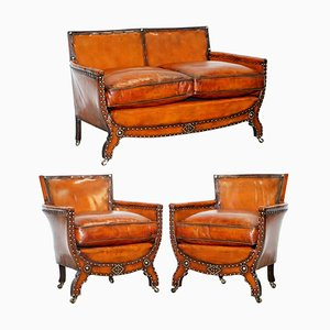 Edwardian Studded Whisky Brown Leather Tub Club Sofa & Armchairs, Set of 3