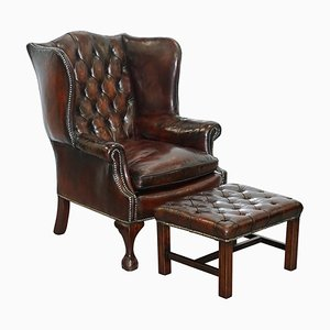 English Chesterfield Leather Wingback Claw & Ball Armchair & Footstool, Set of 2