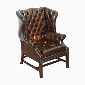 Cigar Brown Leather Chesterfield Wingback Armchair