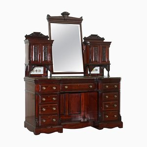 Victorian Ornate Grand Hardwood Dressing Table with Drawers & Storage Space