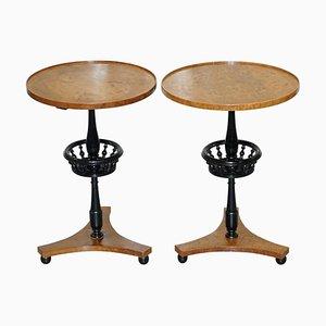 Biedermeier Burr Walnut & Ebonized Side Tables, Set of 2