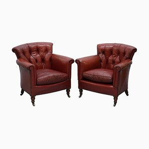 Victorian Blood Red Leather Rod Stewart Essex Home Armchairs, Set of 2