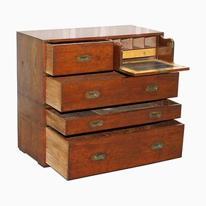Army & Navy C.S.L Stamped Campaign Chest of Drawers Including Desk, 1890s