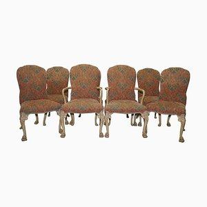 Art Deco Walnuss Esszimmerstühle mit Löwehaaren Pfotenfüßen, 8er Set